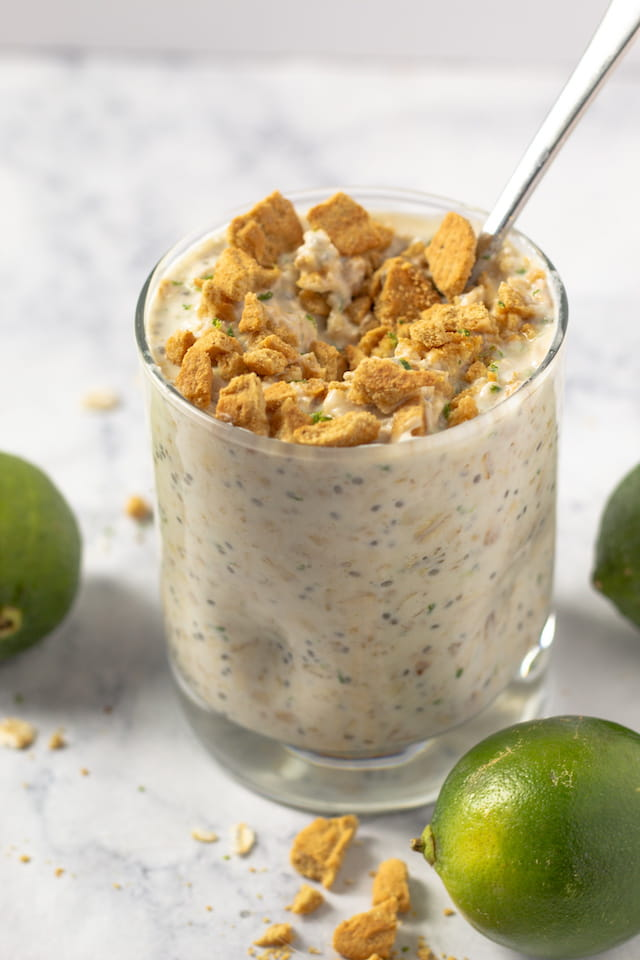Key Lime Pie Overnight Oats in Glass Cup