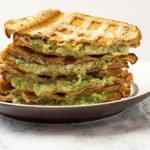 Broccoli Cheddar Waffle Grilled Cheese with Text Overlay