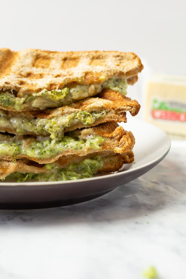 Broccoli Cheddar Waffle Grilled Cheese Stacked Close Up