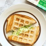 Broccoli Cheddar Waffle Grilled Cheese Overhead on Plate