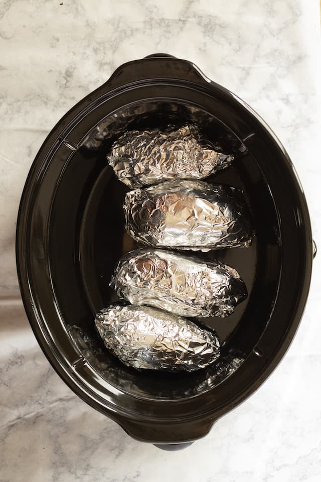 Slow Cooker Sweet Potatoes Wrapped in Foil
