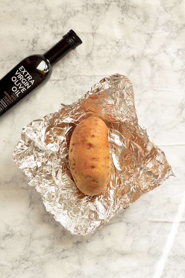 Slow Cooker Sweet Potatoes Unwrapped in Foil