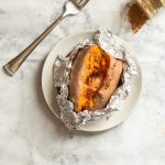 Slow Cooker Sweet Potatoes Unwrapped in Foil with Fork