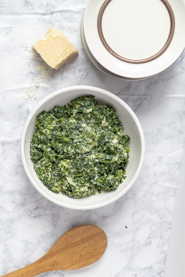 Healthy Creamed Spinach Recipe Overhead in Bowl