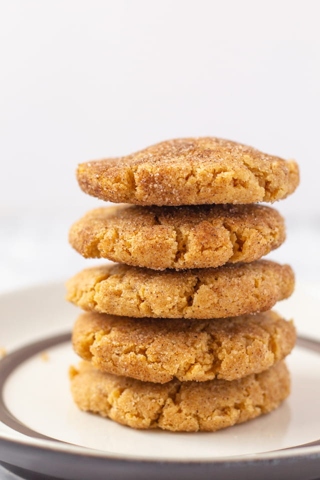 Easy Peanut Butter Snickerdoodles Stacked on Plate