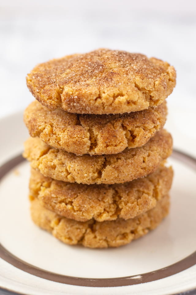 Easy Peanut Butter Snickerdoodles Stack on Plate