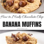 Vegan Chocolate Chip Banana Muffins Collage with Text