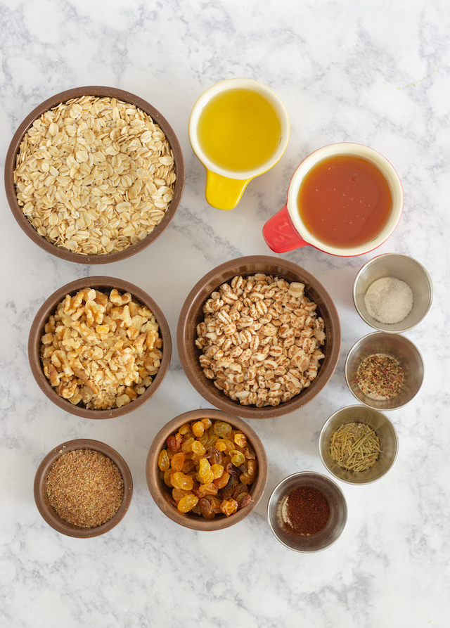 Sweet and Savory Granola Bars Ingredients In Bowls