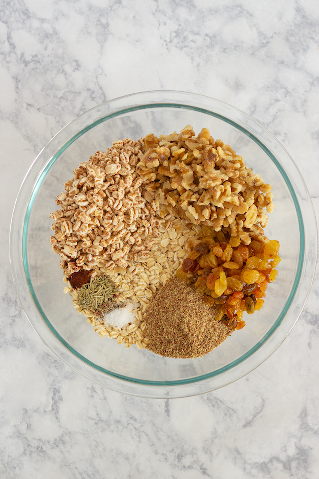 Sweet and Savory Granola Bars Ingredients in Bowl