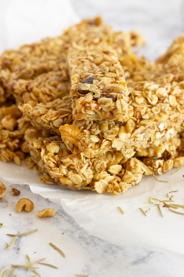Sweet and Savory Granola Bars Stacked